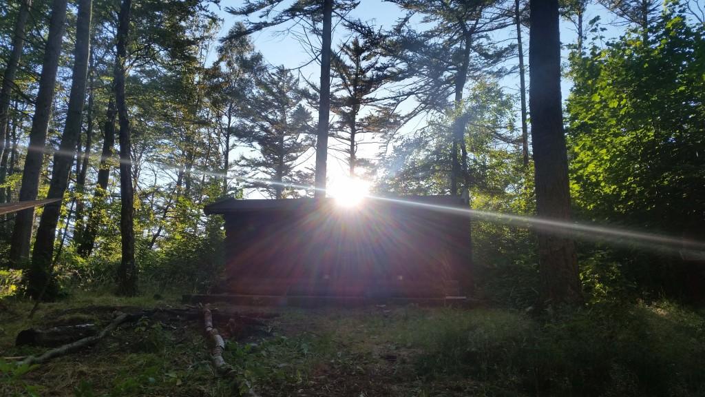 Solnedgang over shelteret.
